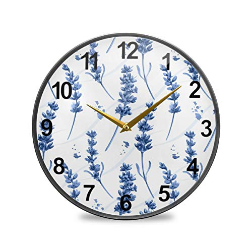SUABO Bathroom Clock Blue Lavender Wall Clock 12 Inch Non-Ticking Silent Clocks for Living Room Decor