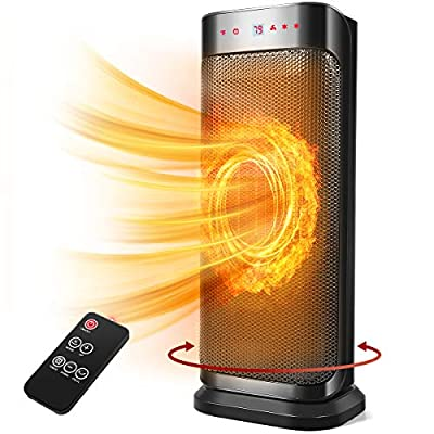 Space Heater, 1500W Electric Heater for Indoor/ Bedroom/ Camping, 16 Inch High Widespread Oscillation Remote Control Ceramic Heater, Portable Heater