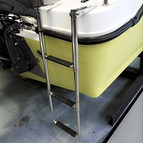 Hoffen 3 Step Telescopic Marine Drop Boat Ladder Swim Step - Stainless Steel