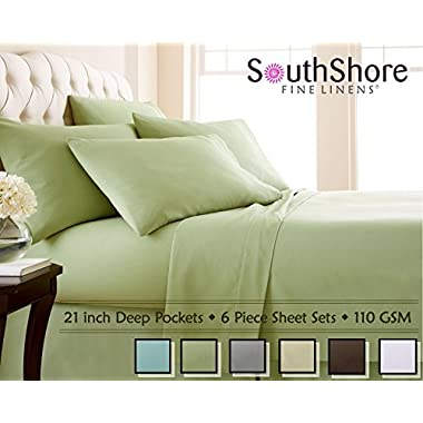 Southshore Fine Linens 6 Piece - Extra Deep Pocket Sheet Set - SAGE GREEN - Queen