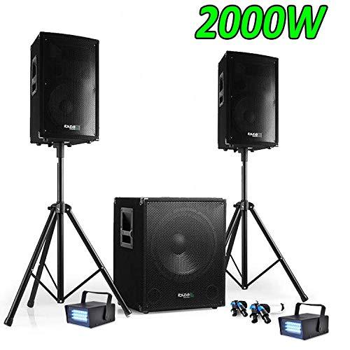 Sound-Pack DJ 2000W Cube 1512mit Subwoofer + Lautsprechern + Füßen + Kabeln + 2Strobes
