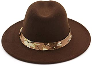 Fedoras Hats for Women Wide Brim Felt Hat Ladies Tweed Army Green Jazz Cap Female Leopard Winter Elegant Pork Pie Hat` TuanTuan (Color : Coffee, Size : 56-58)