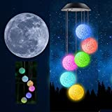 Easest Changing Colors Solar Power Mobile Wind Chime Spinner Lights Waterproof Windchime Outdoor Decorative Mobiles Hanging Ball Solar LED Lights for Patio, Yard,Garden,Pathway Lighting Decoration