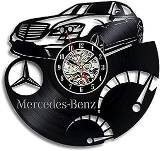 Reloj de vinilo de comercio exterior Reloj de pared de registro de automóvil Mercedes-Benz reloj creativo nostálgico retro sin luz Reloj de pared de vinilo Regalo Arte de la pared Decoración vintage
