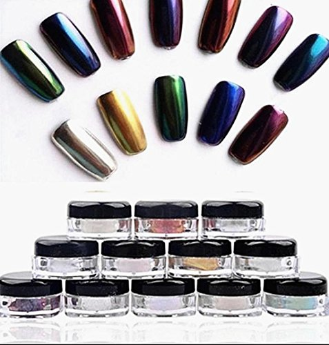 12 Farben Set, ZEZKT-Beauty Nail Powder Glitzer Lidschatte Nail Mirror Powder Glitter Chrome Powder...