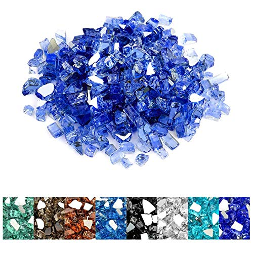 Mr. Fireglass 1/4 inch Reflective Fire Glass for Fireplace Fire Pit and Landscaping 10 lb High Luster Cobalt Blue
