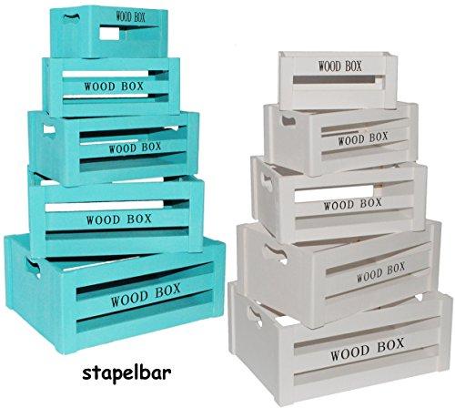 alles-meine.de GmbH Set - 5 Stück _ Holzboxen / Deko Kisten / Blumenkisten -  Vintage Look - türkis blau - Wood Box  - groß - mittel - klein - Dekokiste Kiste - Holzkiste - aus..