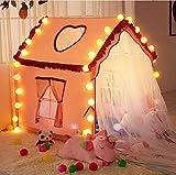 Rosa Casita De Tela para Niñas con Luces LED de Estrella,Tienda Princesas Niñas de Cabaña Tienda De Juegos para Niñospara Niños y Niñas Juego Imaginativo,120x90x125cm
