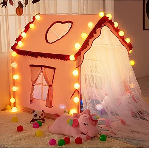 Carpas de juego rosa para niñas con luces LED de estrella, tienda para niñas cabaña tienda de campaña para regalo de niños, 120 x 90 x 125 cm