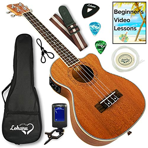 Ukulele from Lohanu Cutaway Electric With 3 Band EQ & Pick Up With All Accessories Included! (Tenor...