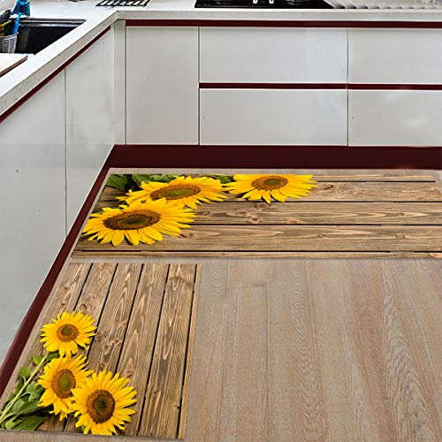 """Kitchen Rugs Sets 2 Piece Floor Mats 3 Sunflower on The Wooden Table Doormat Non-Slip Rubber Backing Area Rugs Washable Carpet Inside Door Mat Pad Sets (15.7"""" x 23.6""""+15.7"""" x 47.2"""")"""