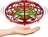 Flying Ball Mini UFO Drone Bola voladora RC Flying Juguetes, Recargable Drone Helicóptero Inducción Infrarroja Bola de Vuelo Sensores Luces LED brillantes Giratorias De 360 ° para Niños (Rojo)