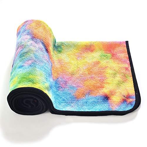 Toalla de yoga de fibra superfina para protección del medio ambiente, toalla antideslizante para yoga, esterilla de yoga, ejercicio de suelo interior, 24 'X72' (amarillo)