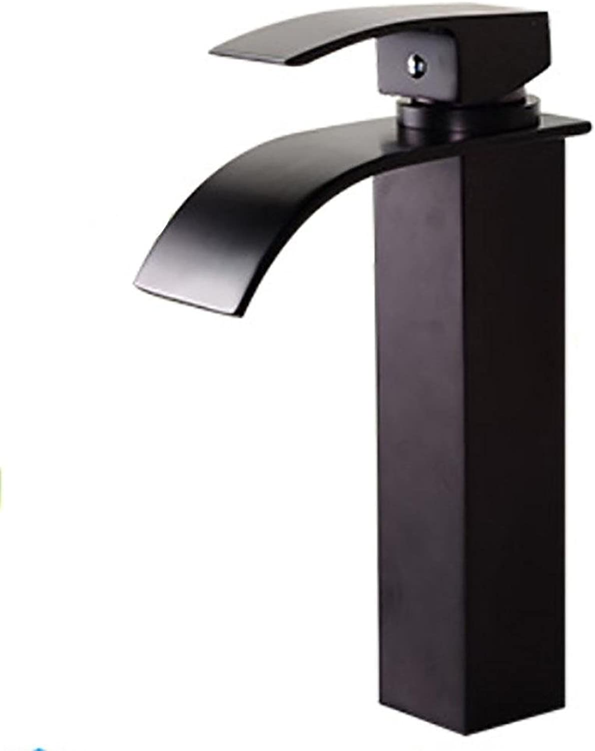 SLT Waterfall Bathroom Faucet Basin Mixer Tap with Hot and Cold Water Black