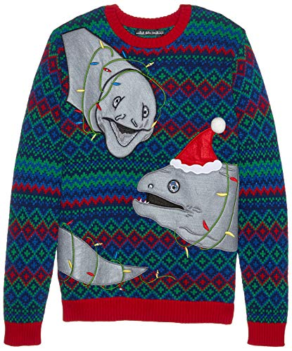 Blizzard Bay Men's Ugly Christmas Sweater Light UP, Blue/Grey, Large