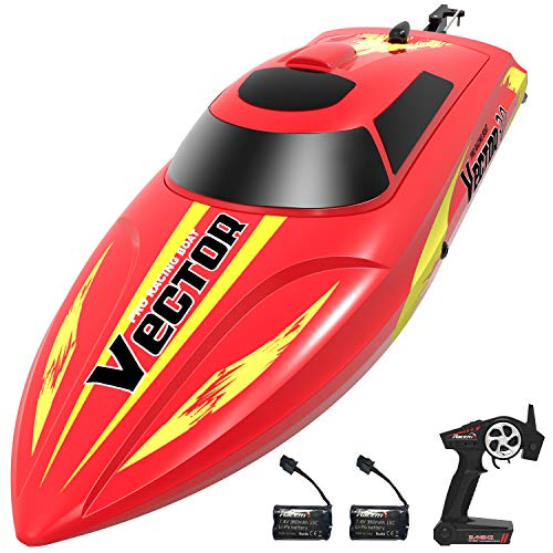 VOLANTEXRC Remote Controlled Boat Vector30 for Pools and Lakes, High Speed Electric RC Boat for Kids or Adults, with Self-righting, Reverse Function for Boys or Girls (795-3 Red)