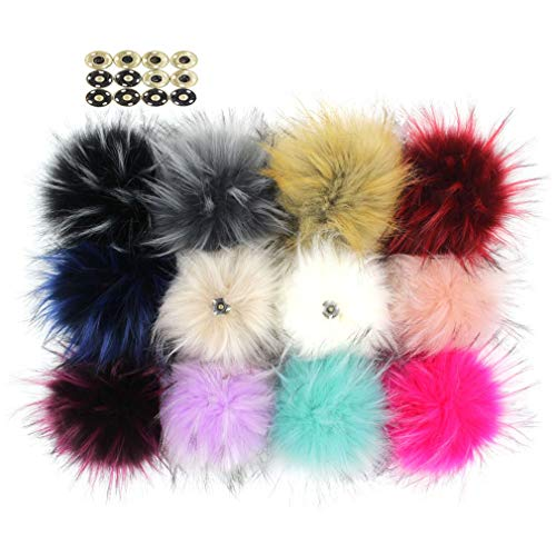 Pack of 12 Large Faux Raccoon Fur Pompoms Fluffy Pom Pom Ball for Knitting Crafts Accessories Hats DIY with Press Snaps 5in (Colorful Mix)