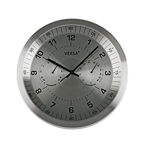 Versa 1856011 Reloj Aluminio, 35 cm, Metal, Plateado, 35.00x4.20x35.00 cm