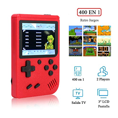 REDGO Mini Consola de Juegos Clásicos, 400 Juegos de FC Retro Reproductor Portátil Pantalla a Color Soporta 2 Jugadores y Conexión con TV Batería Recargable Regalo Ideal para Niños y Adultos
