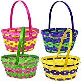 Gift Boutique 12 Bamboo Easter Baskets- Round Bright Easter Colors with Handle for Kids Party Favor Supplies Decorations