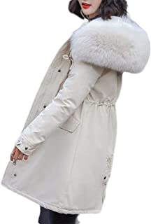 Macondoo Womens Faux Fur Hoodie Fleece Lined Parkas Coat Thick Winter Down Jackets