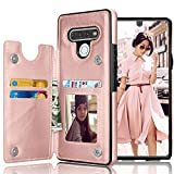 Tekcoo Wallet Case Compatible with LG Stylo 6, Premium Minimalist PU Leather ID Cash Credit Card Holder Slots Magnetic Closure Kickstand Folio Flip Slim Hard Protective Cover [Rose Gold]
