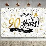 Blulu Decoraciones de Fiesta de Cumpleaños Aniversario, Cartel Negro y Dorado Grande Fondo de Aniversario Pancarta de Fiesta para Cumpleaños (90 Aniversario)
