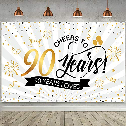 Cheers to 90 Years/90 Years Loved Backdrop