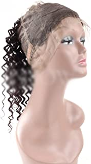 Yrattary 9Aディープウェーブヘア360レース前頭ブラジル人毛ナチュラルブラック女性用ナチュラルブラック(8-20インチ、150%密度)合成髪レースかつらロールプレイングかつら長くて短い女性自然 (色 : 黒, サイズ : 18 inch)