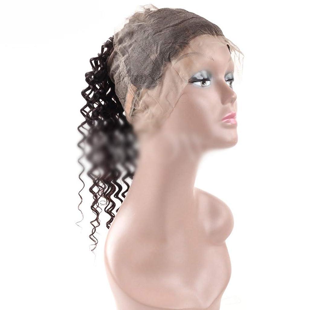 発見動力学堤防Yrattary 9Aディープウェーブヘア360レース前頭ブラジル人毛ナチュラルブラック女性用ナチュラルブラック(8-20インチ、150%密度)合成髪レースかつらロールプレイングかつら長くて短い女性自然 (色 : 黒, サイズ : 18 inch)