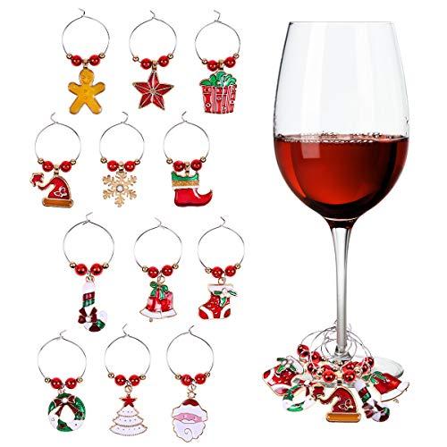 PHOGARY 12 STÜCKE Glasmarkierer Weinglas Charms Ringe Marker Weihnachtsfeier Stehtisch Dekorationen (Stil B)