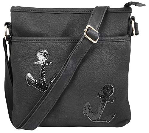 7daysin Damen-Handtasche Anker Umhängetasche Reißverschluss Lederimtat 3600162 (schwarz)