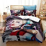 BATYPET 2Pcs Suicide Squad Joker Duvet Cover Bedding Set Twin Size for Kids Teens Harley Quinn Pattern Comforter Cover Bed Set, 1 Duvet Cover and 1 Pillowcases (E,Twin(68'x86'))
