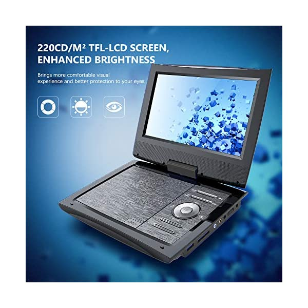 Portable DVD Player for Car with 9.5 Inch HD Swivel Screen, 5 Hours Rechargeable Battery, Dual Earphone Jack, Supports SD Card/USB/CD/DVD, with Extra Headrest Mount Case 4