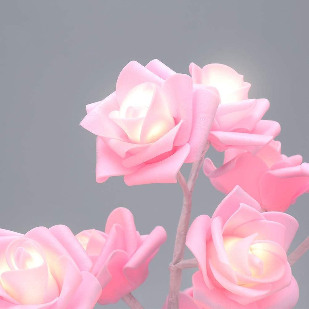 veilleuse d/écorative pour la lampe de confession de la Saint-Valentin veilleuse de bonsa/ï de fleur de rose de 24 LED aliment/ée par batterie QiHong Lumi/ère darbre de rose de bureau