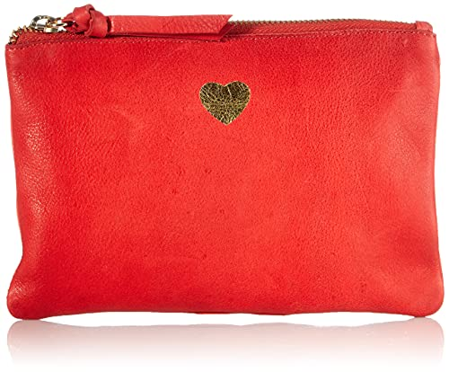 PIECES Damen PCTALLI Leather FC Clutches, Tango Red, ONE Size