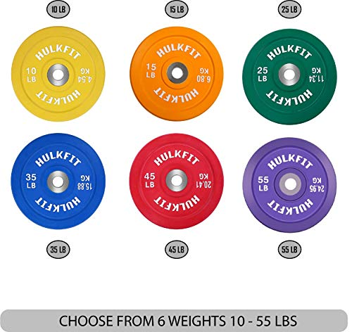 HulkFit Olympic 2-Inch Rubber Bumper Plate with Stainless Steel Insert, Blue
