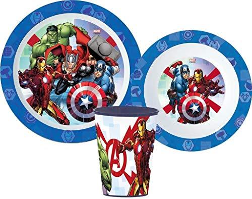 Juego de vajilla infantil con plato, cuenco para cereales y taza de Avengers