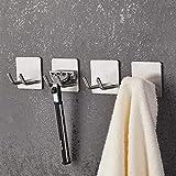JS self Adhesive Hooks,Razor Holder for Shower 4 Pack Sticky Hooks Hanger Stand Stainless Steel Storage Hook,Shower Hook for Razor Bathroom Kitchen Organizer for Shaver Plug Robe Towel Loofah Coat