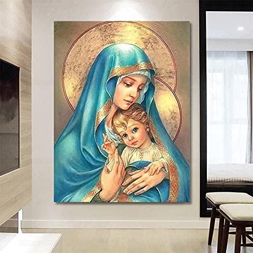 GZCJHP Pintura sobre lienzo 60x80cm sin marco Religión Icono Virgen María Y Jesús Decoración De Pared Linving Sala Dormitorio Decoración
