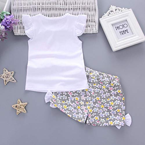 Soolike Ropa Bebe Niña Primavera Otoño Invierno Recién Nacido Niña,Camiseta Lollipop Floral + Cinturón De Pantalones Cortos Traje