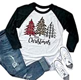 Merry Christmas Tshirt Women Plaid Leopard Tree Graphic Print Baseball T Shirt 3/4 Sleeve Raglan Christmas Tee Tops Black