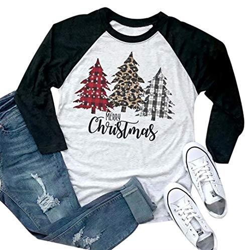 Merry Christmas Tshirt Women Plaid Leopard Tree Graphic Print Baseball T Shirt 3/4 Sleeve Raglan Christmas Tee Tops Black