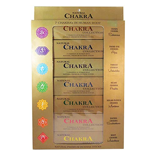 GJ BOON Natural Chakra Collection Incense Sticks Gift Pack. Hand Rolled Seven Chakras Incense Sticks