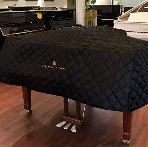 Steinway Model S Piano Cover with Logo Embroidery 5'1' - Quilted Black Nylon with Side Splits