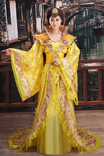 Disfraz de hanf tradicional para mujer, bordado, disfraz de princesa de concubina imperial (color: amarillo, tamao: L.)