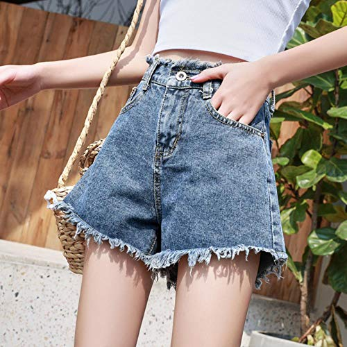 JKFXMN Jeansshorts Hohe Taille Große Größe Breite Sommer Mutter Quaste Shorts Loses Bein Streetwear Damen, V Blau, 25