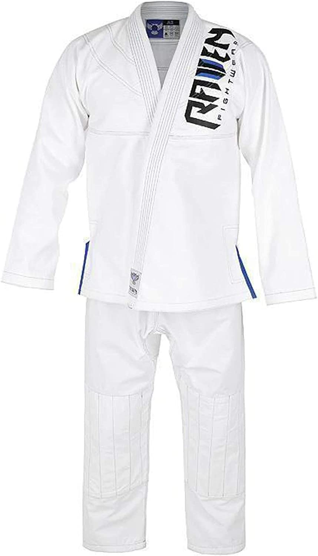 Raven Fightwear BJJ Gi Pearl Weaver White Brazilian Free shipping / New J Tulsa Mall Blue Men's