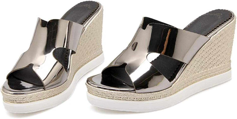 Women's Shining Platform Wedge Casual Home Beach Sandals High Heel Summer Clog Sole Soft Slippers