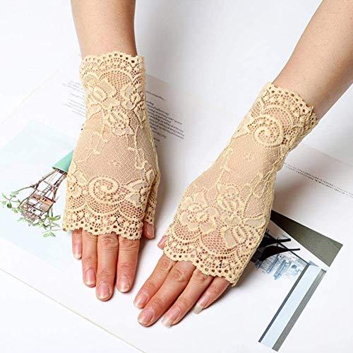 ZHTY Sonnencreme Handschuh Retro Damen Halbfinger Mesh Spitze Handschuhe Frauen Sommer Outdoor UV-Schutz Sonnencreme Fahren Handschuhe Song (Color : Khaki, Size : One Size)